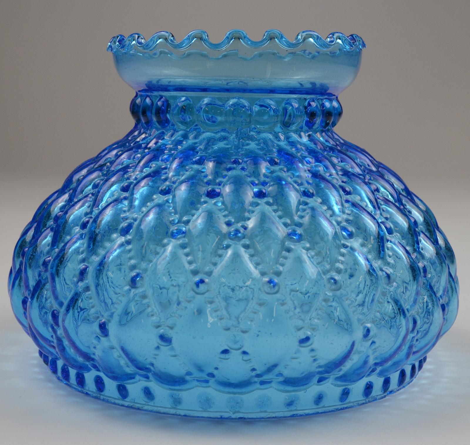 Vintage Hurricane Lamp Shade Diamond, Blue Hurricane Lamp Shade